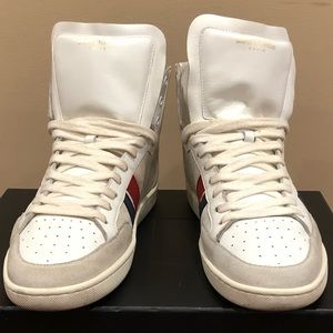 Saint Laurent Italian High Top Mens White Sneakers